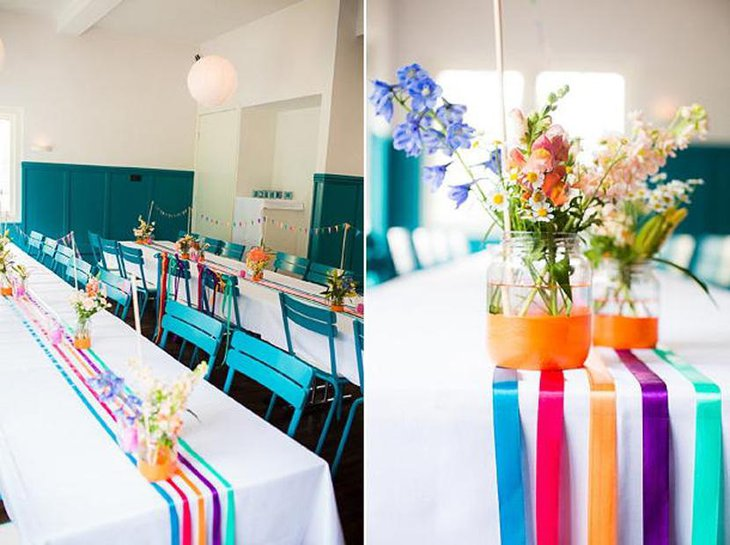Ranibow Colored Ribbon Table Runners