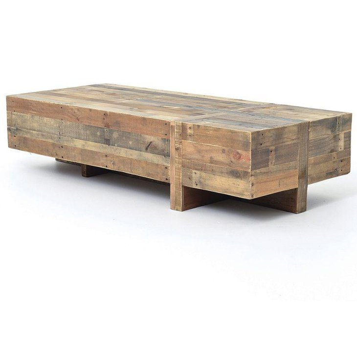 Reclaimed block rustic coffee table