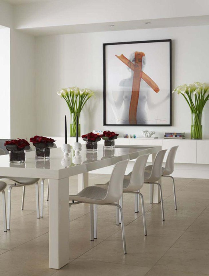 Rectangular white dining table idea for small apartment