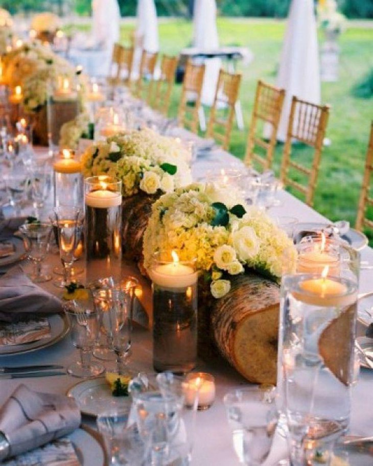 Recycled Log Wedding Table Centerpiece With Flowers