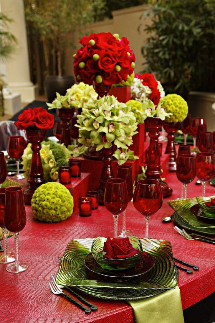 Red and green floral centerpiece for winter table decor