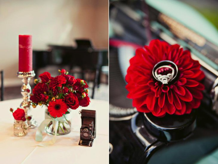 Red and Pink Floral Wedding Arrangements 1