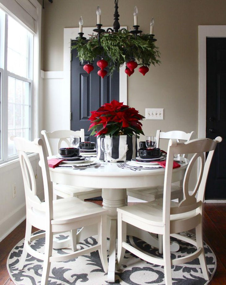 Red and stripes look trendy on this breakfast table