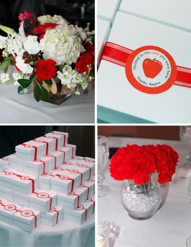 Red and white retirement party favors and decorations