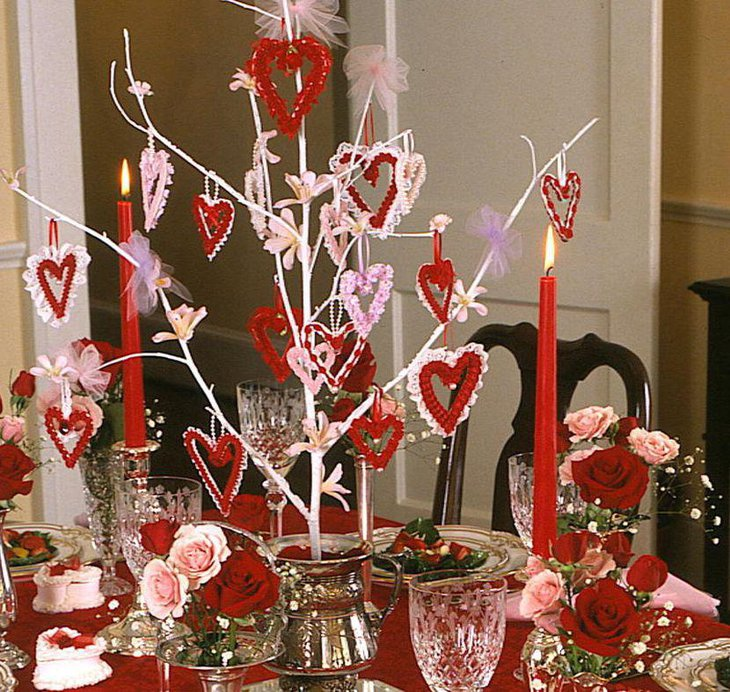 Red and white Valentine branch centerpiece