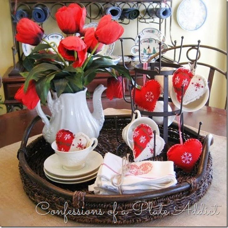 Red and white Valentines vignette decor