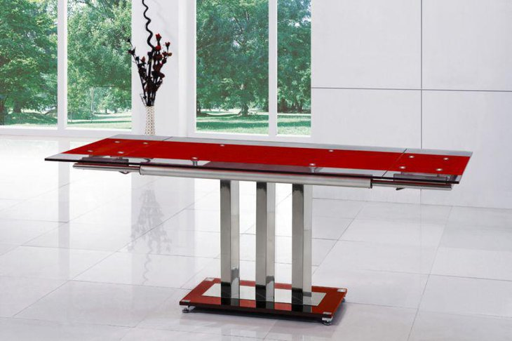 Red Expandable Glass Dining Table