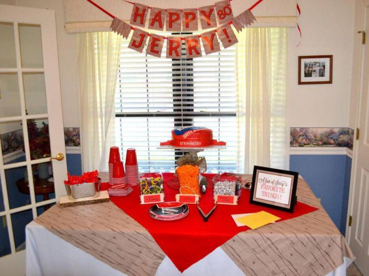 Red Themed 80th Birthday Table Decor For A Dad