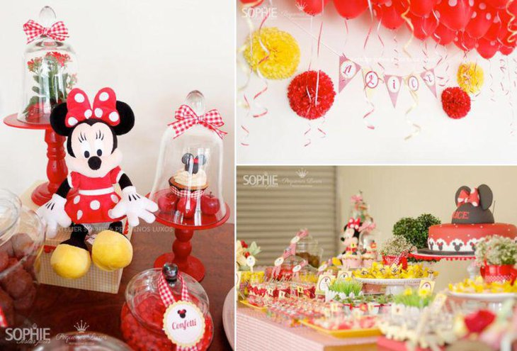 Red themed Minnie Mouse candy table decorations
