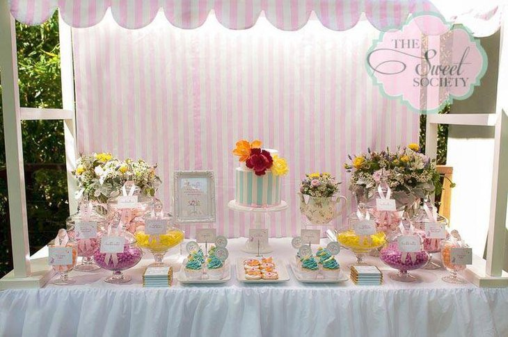 Refreshing shabby chic garden themed baby girl shower decor idea