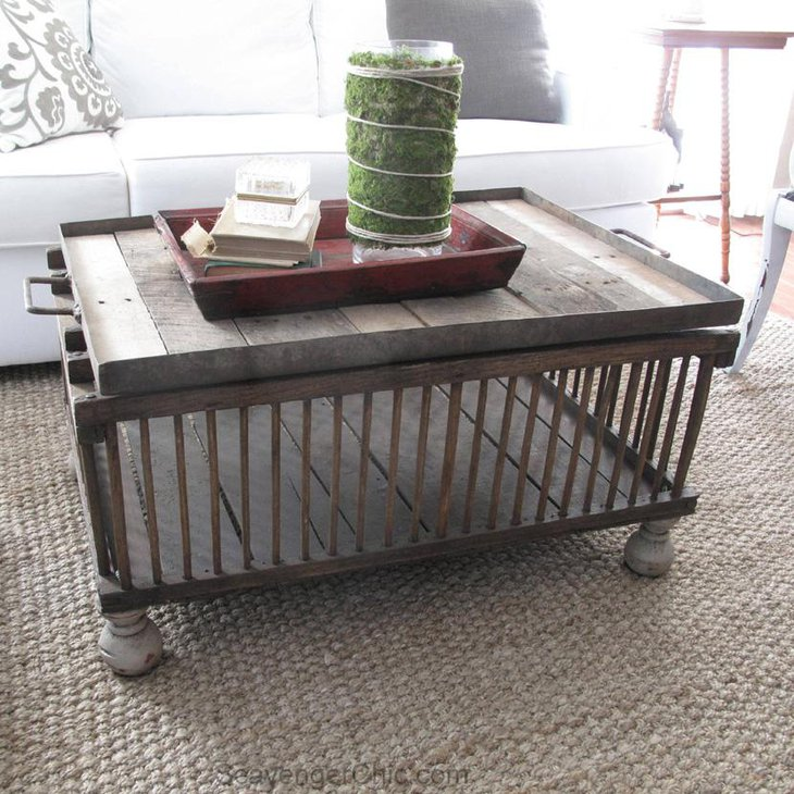 Refurbished Chicken Crate DIY Coffee Table