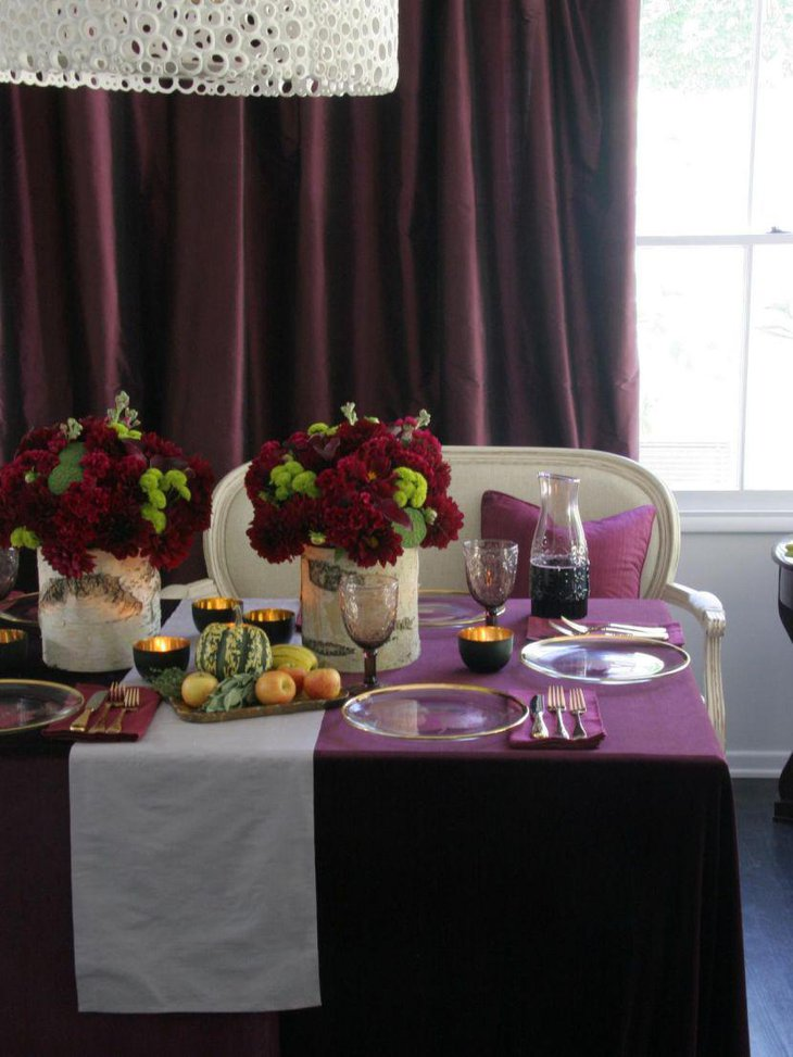 Rich burgundy and chartreuse floral centerpiece table decoration