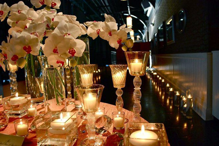 Romantic candle decorations on Valentines Table