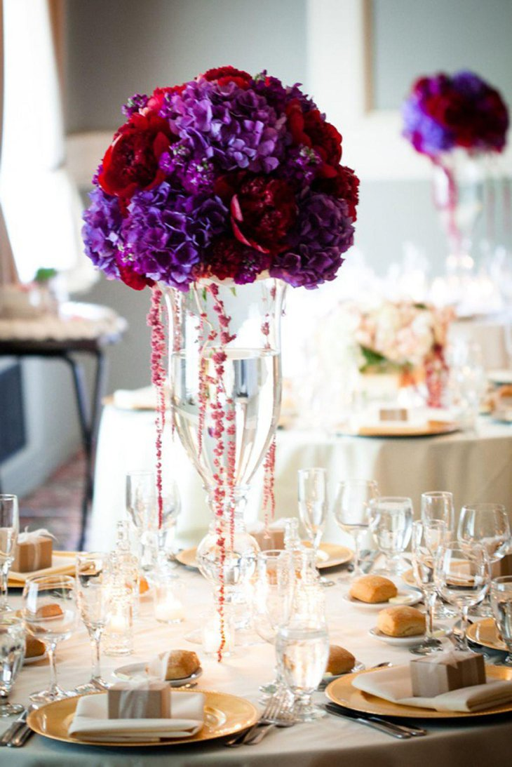 Elegant floral centerpieces for wedding table