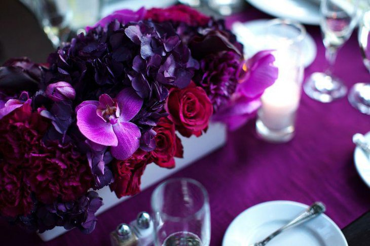 Romantic purple wedding flower centerpiece