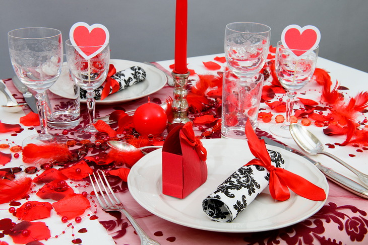 Romantic Table Setting With Petals And Hearts 1