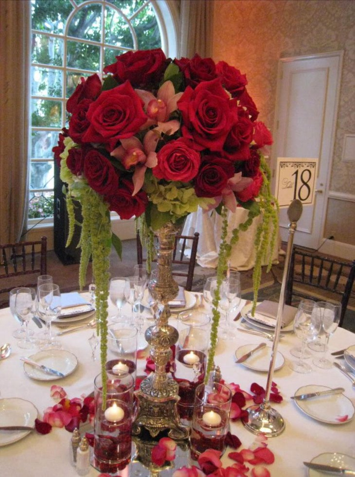Rosy Red Wedding Reception Centerpeice