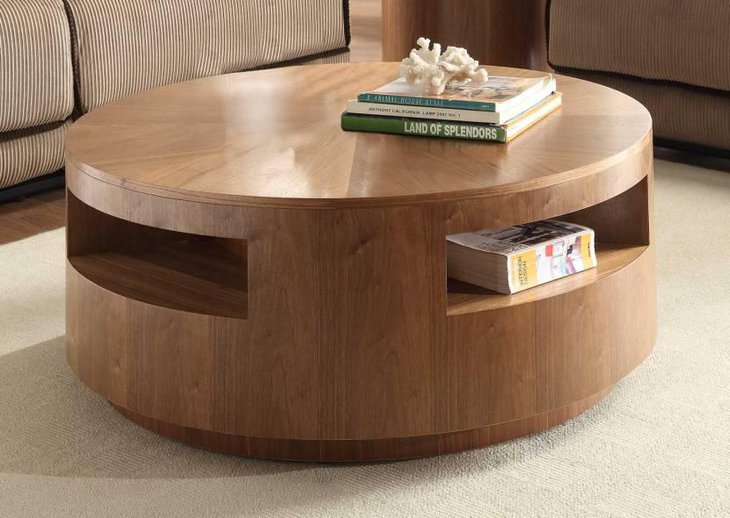 Round Coffee Table In Walnut Finish