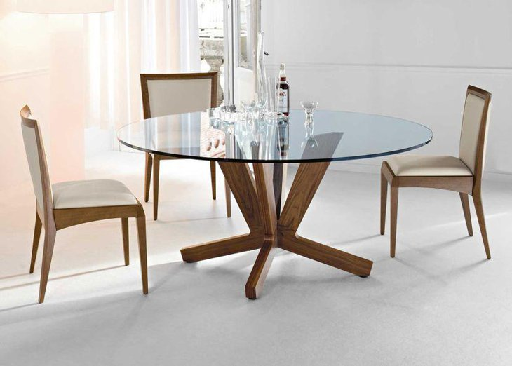 Round Contemporary Glass Dining Table Set