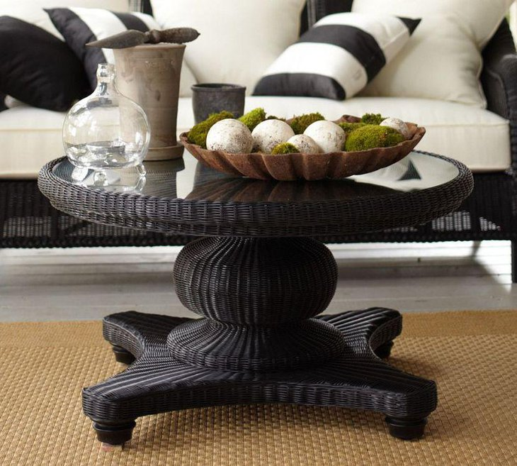 Round modern coffee table decorations with DIY glass jar and moss filled bowl