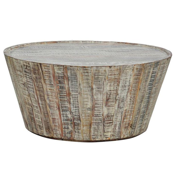 Round rustic barrel coffee table