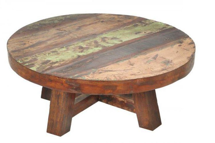 Round rustic coffee table made with pallets