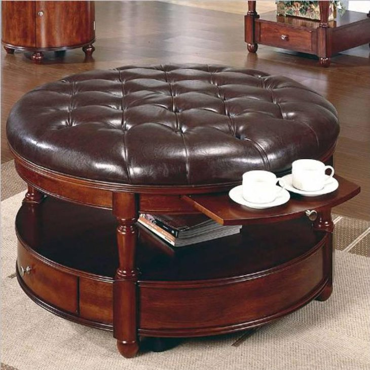 Round Tufted Laminated Leather Coffee Table With Storage