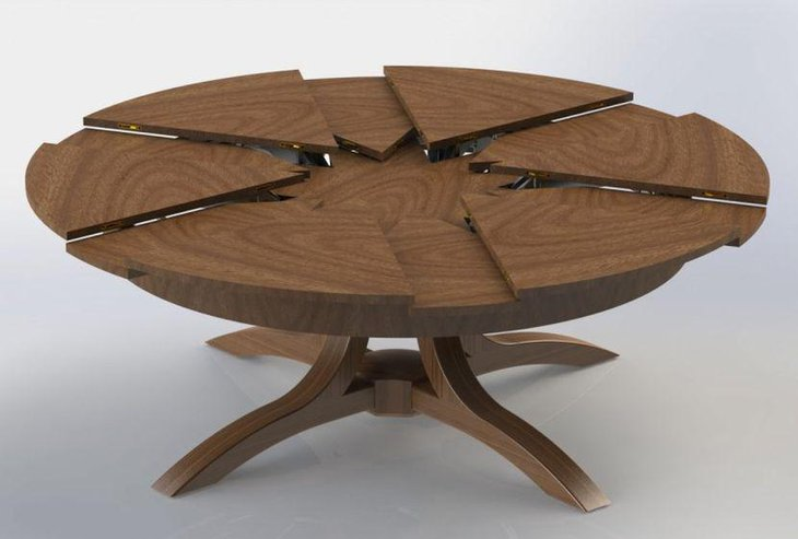 Round Wooden Expandable Dining Table