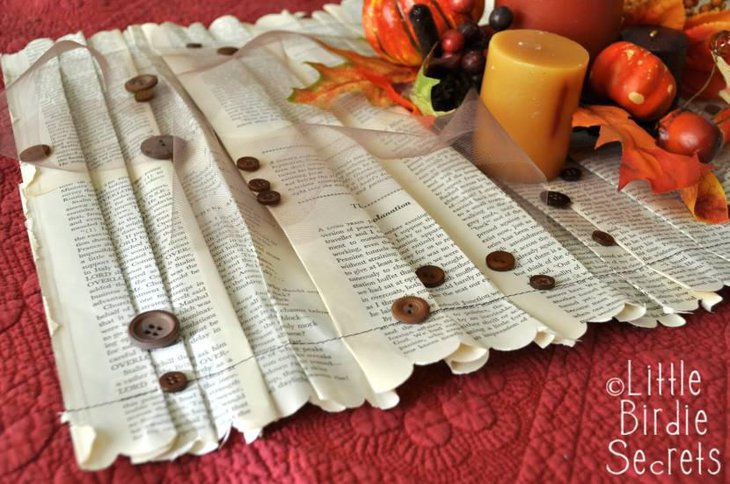 Ruffled Book Paper Table Runner for Thanksgiving