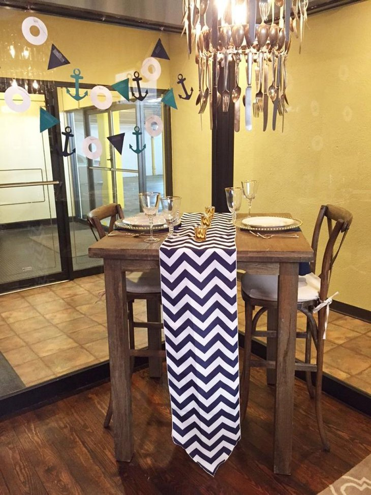 Rustic and Modern Chevron Table Runner in Black White