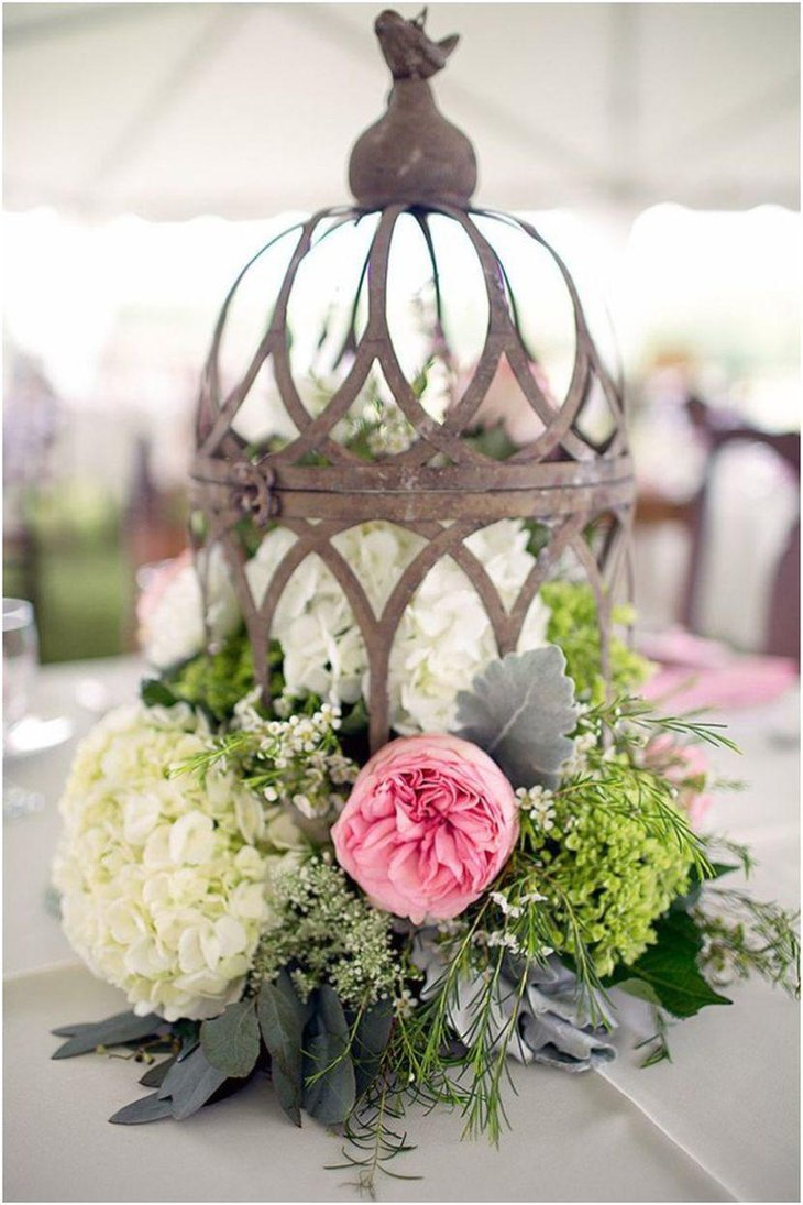 Rustic Birdcage Wedding Table Centerpiece With Flowers and Leaves