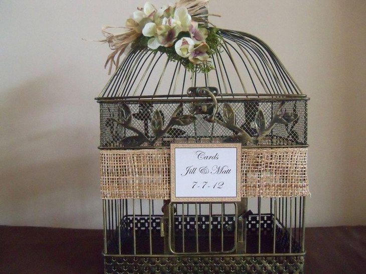 Rustic Birdcage Wrapped With Burlap Wedding Table Centerpiece