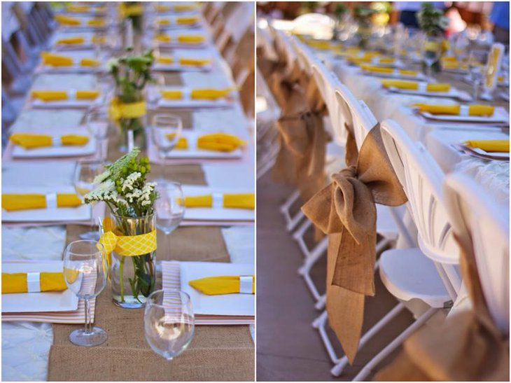 Rustic Burlap Table Runner for Bridal Shower