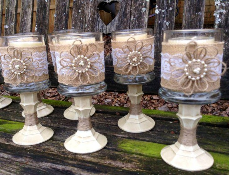 Rustic Candle Holders Wedding Table Centerpieces Wrapped In Burlap and Lace