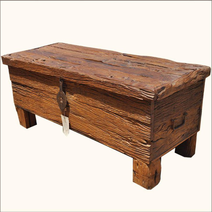 Rustic chest coffee table with storage