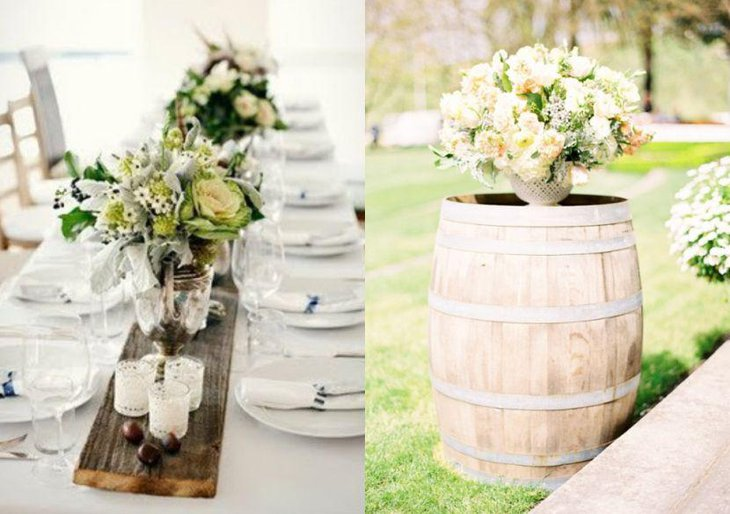 Rustic Chic Wedding Table Setting With Wooden slab and Floral Arrangement
