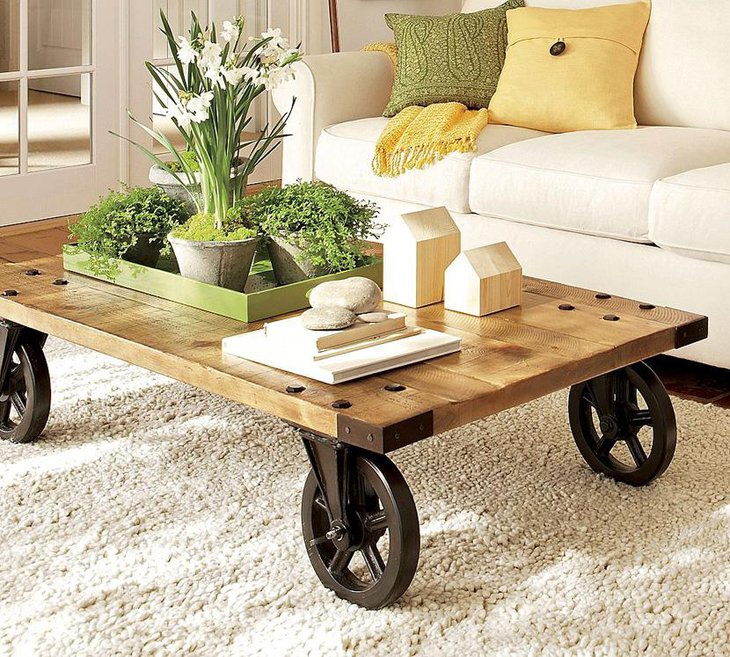 Rustic Coffee Table with Casters