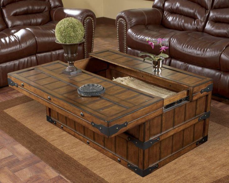 Rustic coffee table with hidden storage