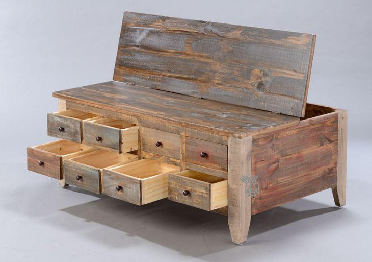 Rustic coffee table with multiple drawers for storage