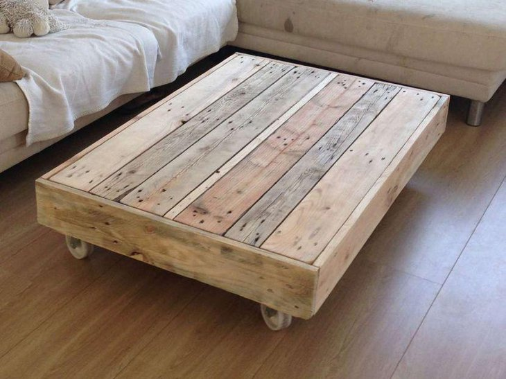 Rustic coffee table with wheels made of wooden pallets