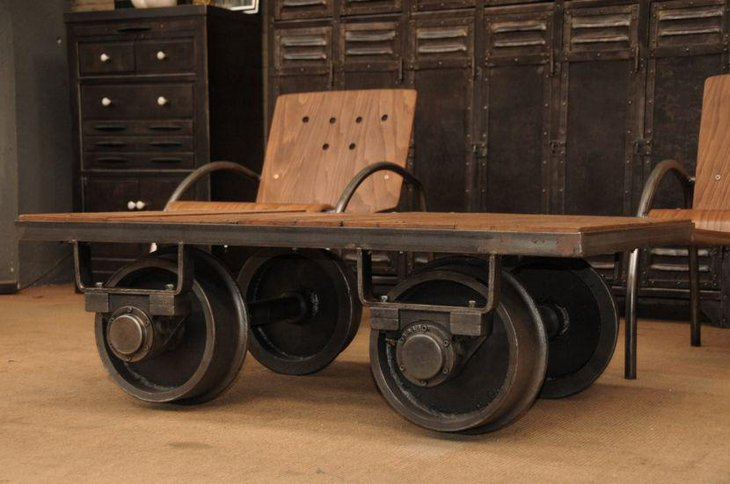 Rustic industrial cart coffee table with wheels
