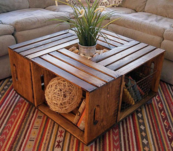 Rustic Looking Wooden Coffee Table With Storage