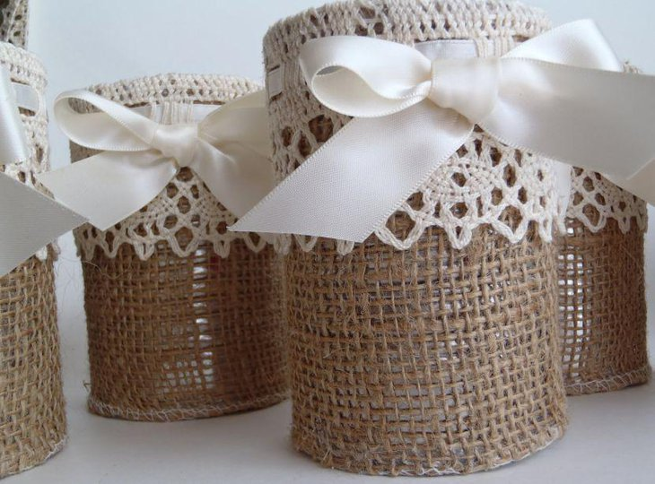 Rustic Wedding Burlap and Lace Vases as Centerpieces