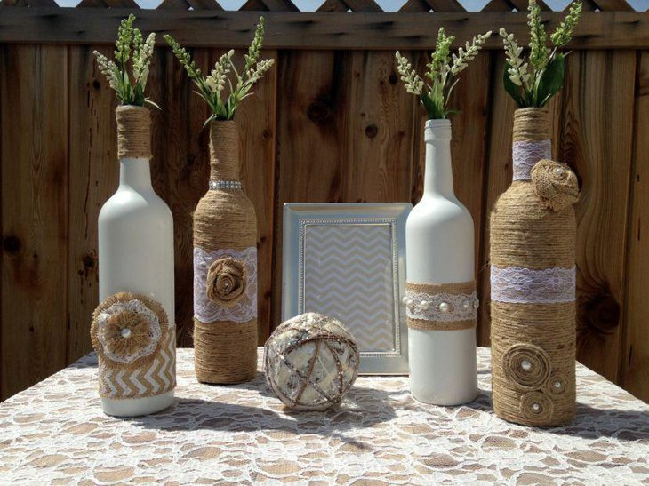 Rustic Wedding Table Decor With Twine Wrapped Wine Bottles