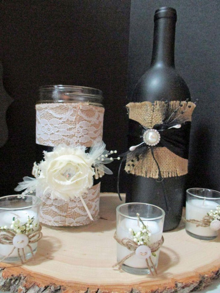 Rustic Wedding Table Decoration With Candle Votives Tied With Twine