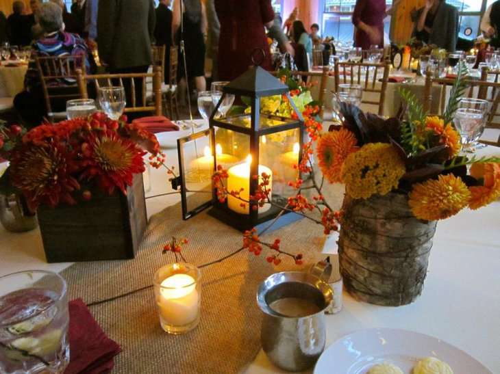 Rustic Wedding Table Ideas with candle lit centerpiece