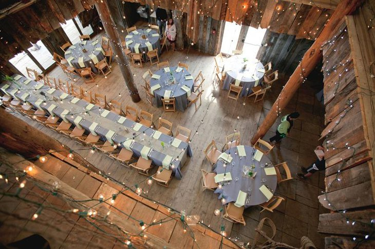 Rustic Wedding Table Ideas with hanging light decor