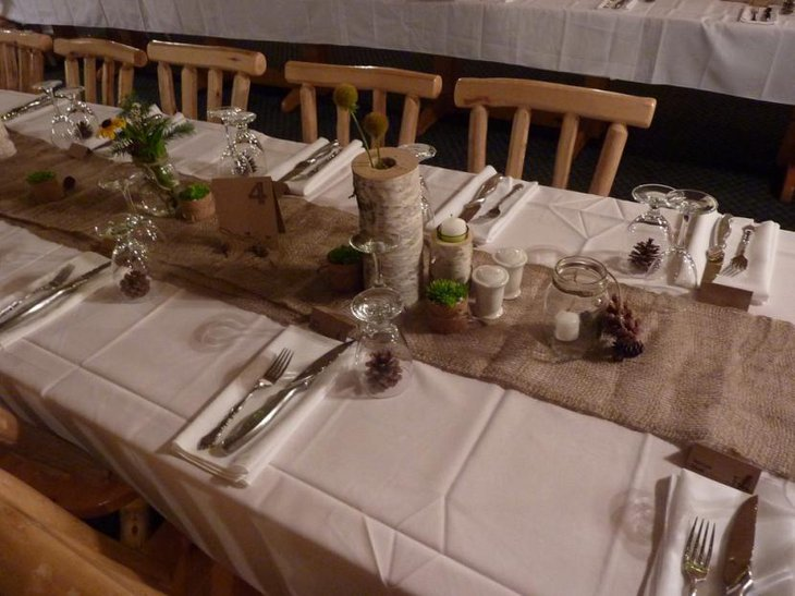 Rustic Wedding Table Ideas with white cover and brown runners