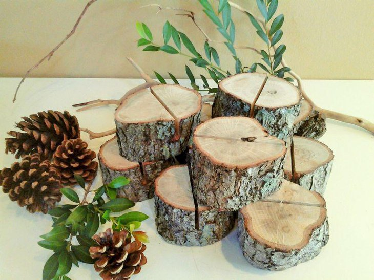 Rustic Wedding Table Setting With Wooden Sliced Logs Plant and Pinecones