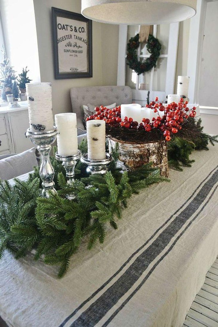 Rustic Wood and Candle Christmas Table Centerpiece With Greens
